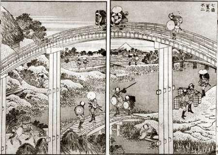 konfigurieren des Kunstdrucks in Wunschgröße Seven Bridges In One View With Mt Fuji von Hokusai