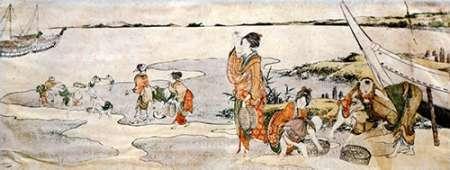 konfigurieren des Kunstdrucks in Wunschgröße Shellfish Gathering von Hokusai