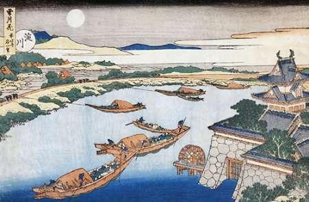 konfigurieren des Kunstdrucks in Wunschgröße The Moon Above Yodo River And Osaka Castle von Hokusai