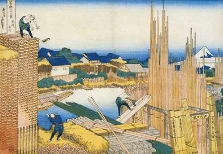 konfigurieren des Kunstdrucks in Wunschgröße The Timber Yard By The Tate River 1835 von Hokusai