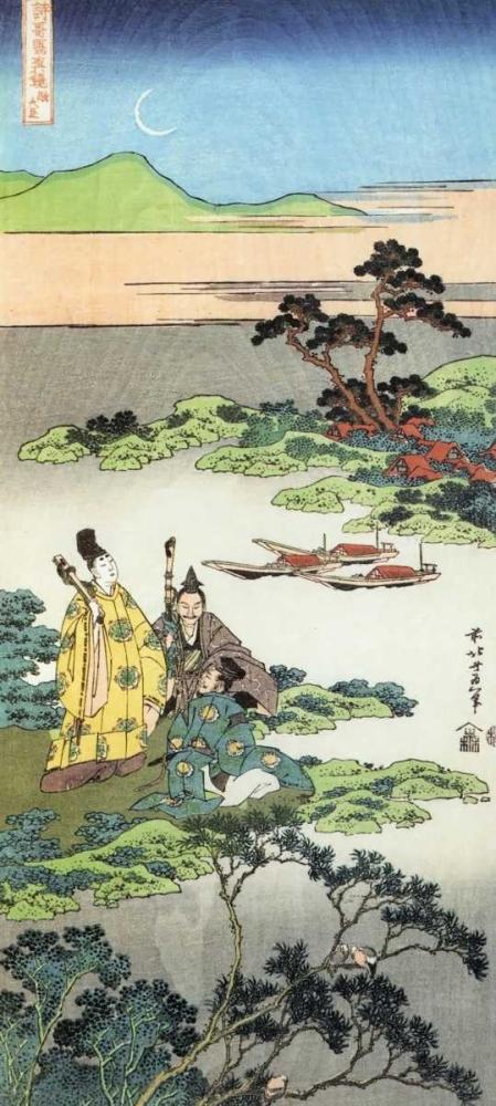 konfigurieren des Kunstdrucks in Wunschgröße Three Noblemen By A Lake von Hokusai