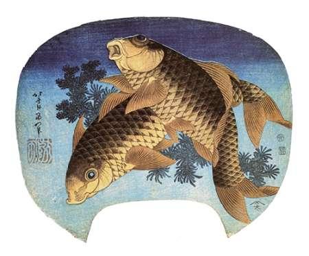 konfigurieren des Kunstdrucks in Wunschgröße Two Carp 1831 von Hokusai