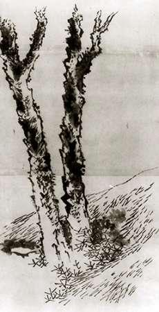konfigurieren des Kunstdrucks in Wunschgröße Two Trees 1830s von Hokusai