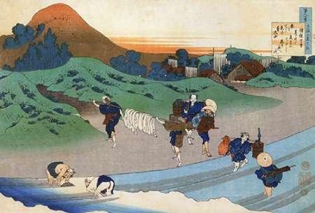 konfigurieren des Kunstdrucks in Wunschgröße Washing In A River von Hokusai