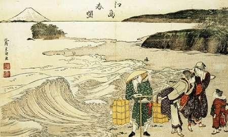 konfigurieren des Kunstdrucks in Wunschgröße Women On The Beach At Enoshima von Hokusai