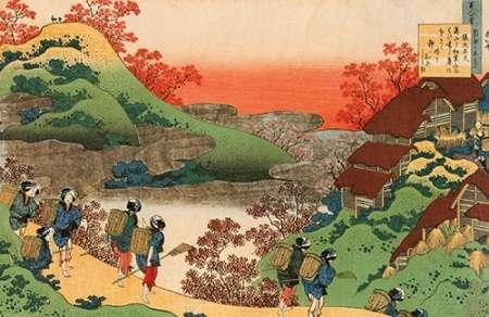 konfigurieren des Kunstdrucks in Wunschgröße Women Returning Home At Sunset von Hokusai