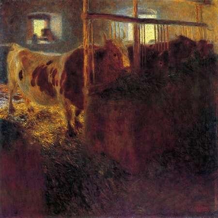 konfigurieren des Kunstdrucks in Wunschgröße Cows In A Satble 1899 von Klimt, Gustav
