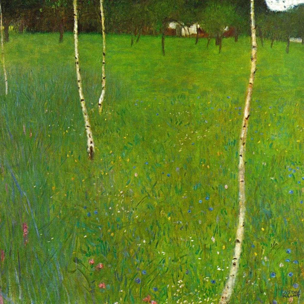 konfigurieren des Kunstdrucks in Wunschgröße Farmhouse With Birch Trees von Klimt, Gustav