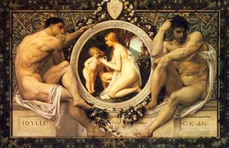 konfigurieren des Kunstdrucks in Wunschgröße Idyll 1884 von Klimt, Gustav