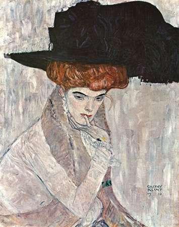 konfigurieren des Kunstdrucks in Wunschgröße Lady With Black Feather Hat 1910 von Klimt, Gustav