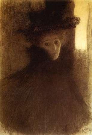 konfigurieren des Kunstdrucks in Wunschgröße Lady With Cape And Hat 1898 von Klimt, Gustav