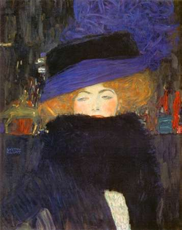 konfigurieren des Kunstdrucks in Wunschgröße Lady With Hat And Featherboa 1909 von Klimt, Gustav
