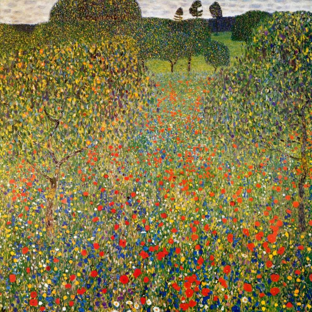 konfigurieren des Kunstdrucks in Wunschgröße Poppy Field 1907 von Klimt, Gustav
