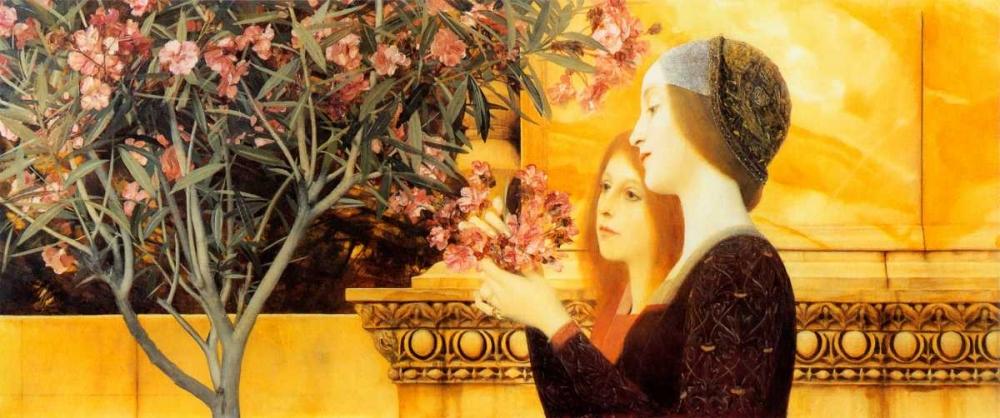 konfigurieren des Kunstdrucks in Wunschgröße Two Girls With Oleander c. 1892 von Klimt, Gustav