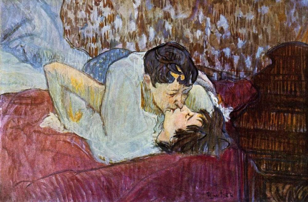 konfigurieren des Kunstdrucks in Wunschgröße The Kiss von Toulouse-Lautrec, Henri