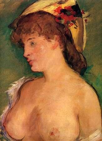 konfigurieren des Kunstdrucks in Wunschgröße Blonde Woman with Bare Breasts von Manet, Edouard