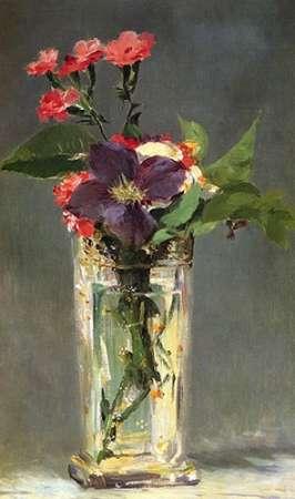 konfigurieren des Kunstdrucks in Wunschgröße Pinks and Clematis in a Crystal Vase von Manet, Edouard