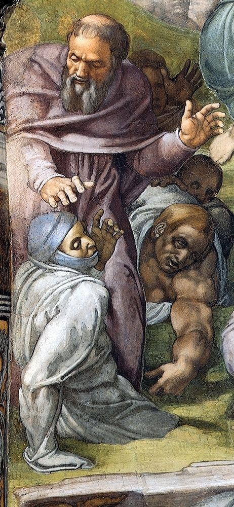 konfigurieren des Kunstdrucks in Wunschgröße Detail From The Last Judgement (A Tonsured Priest) von Michelangelo