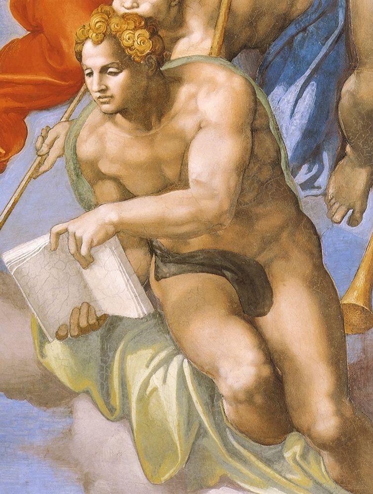 konfigurieren des Kunstdrucks in Wunschgröße Detail From The Last Judgement (Angel) von Michelangelo