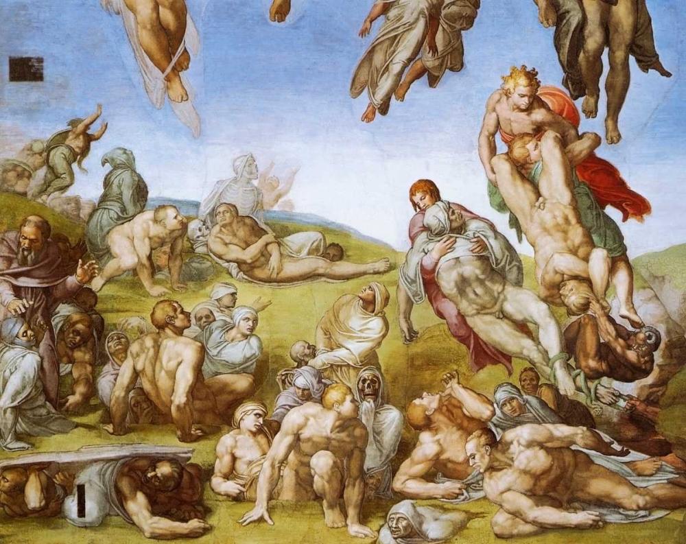konfigurieren des Kunstdrucks in Wunschgröße Detail From The Last Judgement - Resurrection Of The Dead von Michelangelo