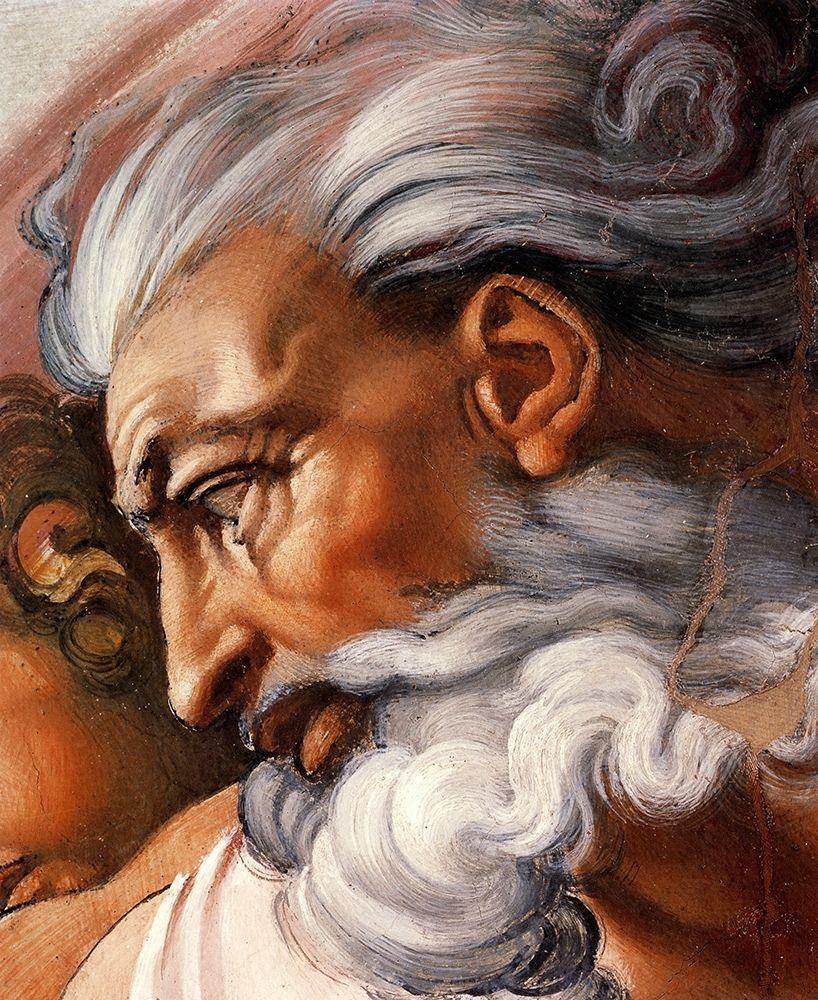 konfigurieren des Kunstdrucks in Wunschgröße Head Of God-3 von Michelangelo