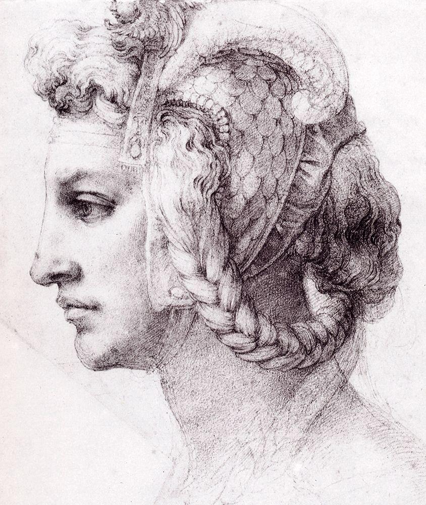 konfigurieren des Kunstdrucks in Wunschgröße Ideal Head Of A Woman von Michelangelo