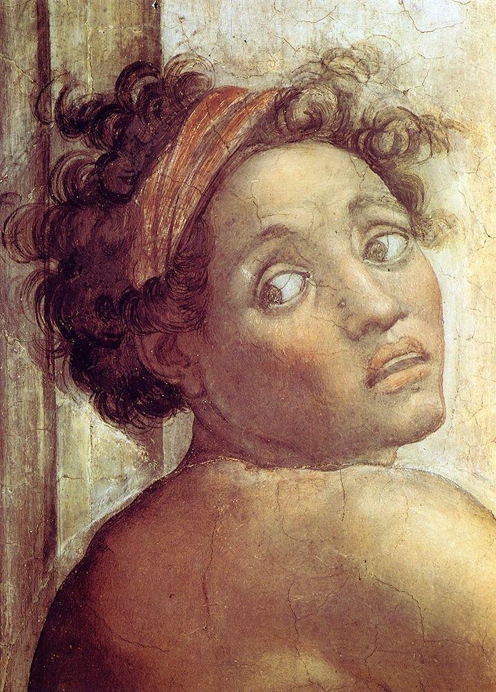 konfigurieren des Kunstdrucks in Wunschgröße Nude Figure Next To The Scene Of Noahs Sacrifice Detail 1509 von Michelangelo