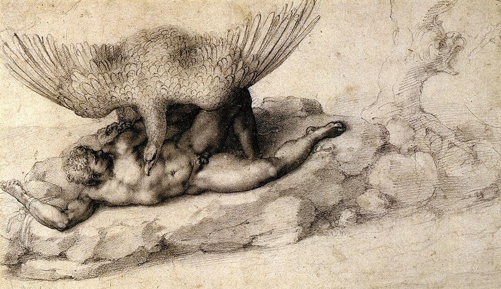 konfigurieren des Kunstdrucks in Wunschgröße Punishment Of Tityus-2 von Michelangelo