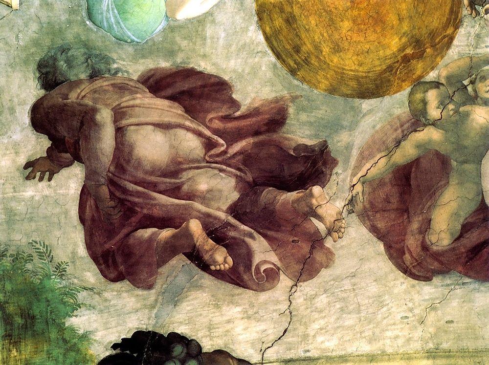 konfigurieren des Kunstdrucks in Wunschgröße The Creation Of Heavenly Bodies God Creating The Moon And Sun Detail von Michelangelo
