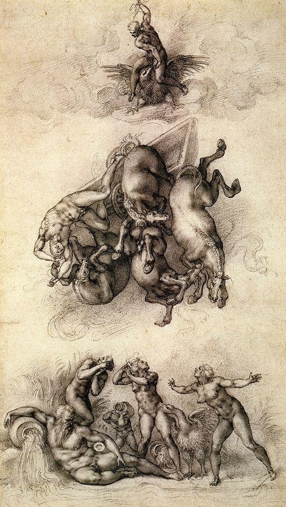 konfigurieren des Kunstdrucks in Wunschgröße The Fall Of Phaeton-4 von Michelangelo