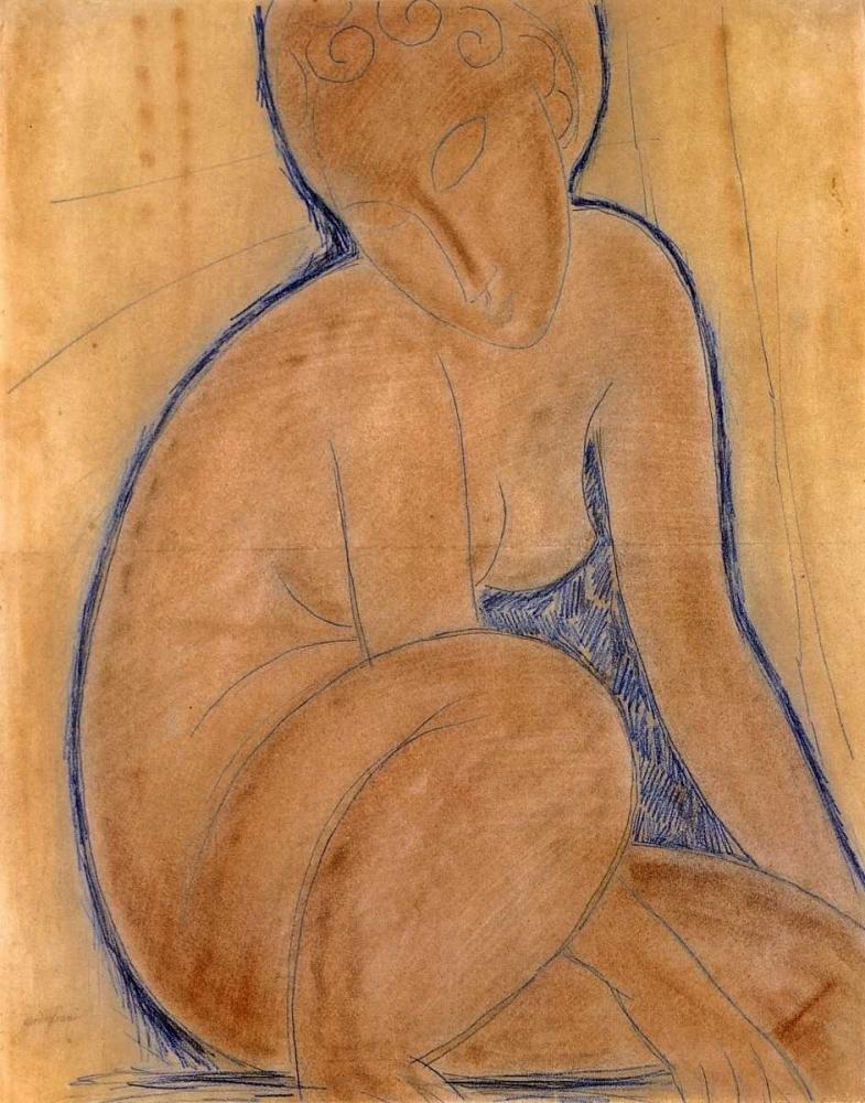 konfigurieren des Kunstdrucks in Wunschgröße Crouched Nude von Modigliani, Amedeo