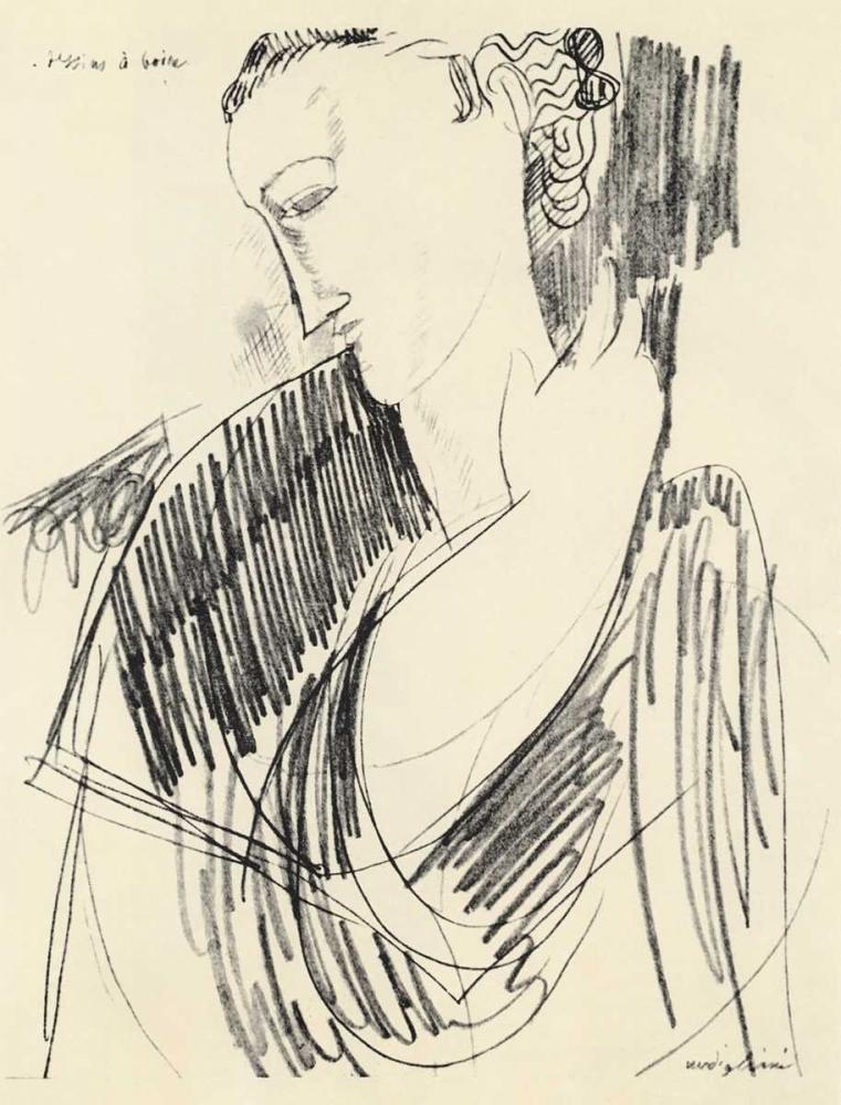 konfigurieren des Kunstdrucks in Wunschgröße Drawing For Drinking von Modigliani, Amedeo