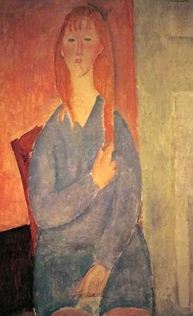 konfigurieren des Kunstdrucks in Wunschgröße Girl In Blue Dress von Modigliani, Amedeo