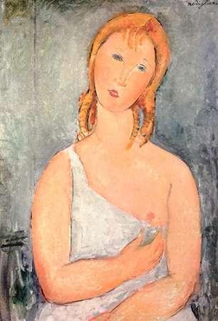 konfigurieren des Kunstdrucks in Wunschgröße Girl In White Chemise von Modigliani, Amedeo