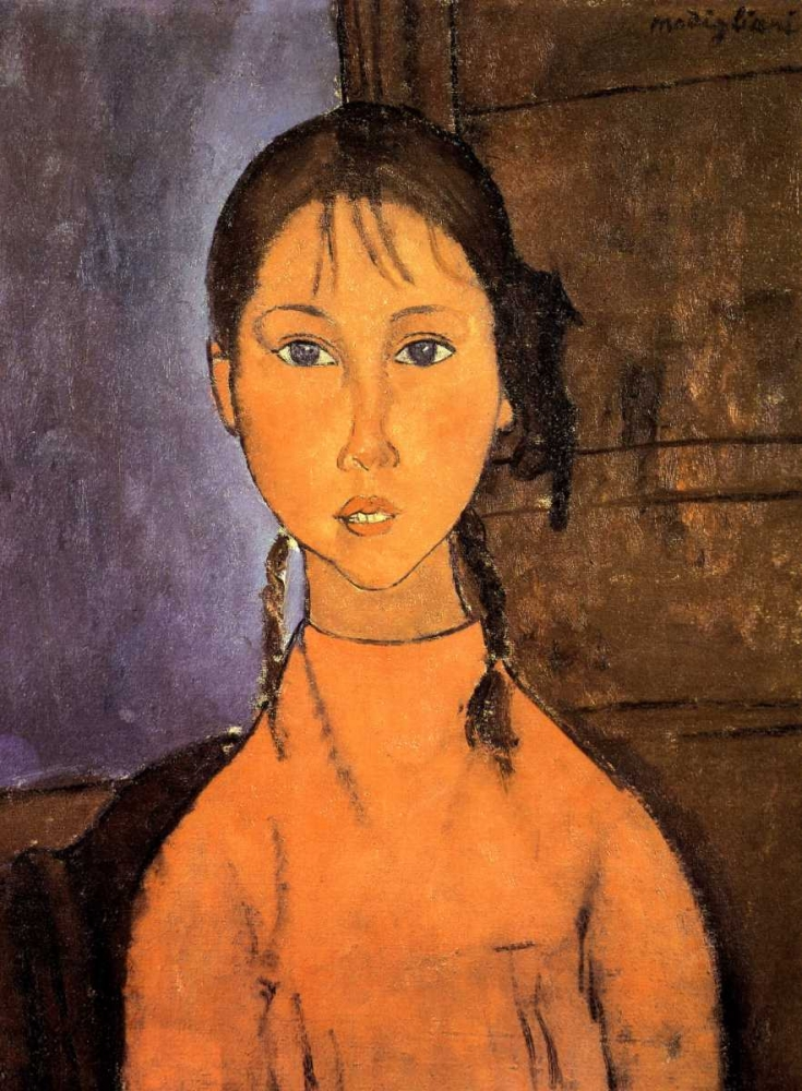 konfigurieren des Kunstdrucks in Wunschgröße Girl With Braids von Modigliani, Amedeo