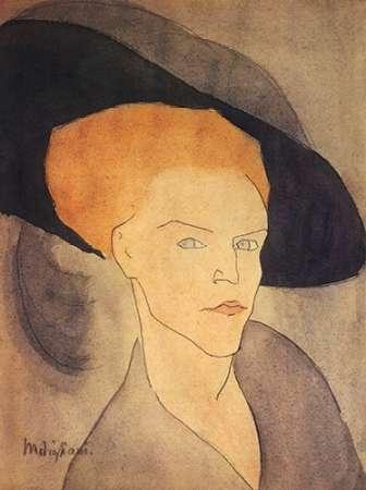 konfigurieren des Kunstdrucks in Wunschgröße Head Of A Woman Wearing Hat von Modigliani, Amedeo