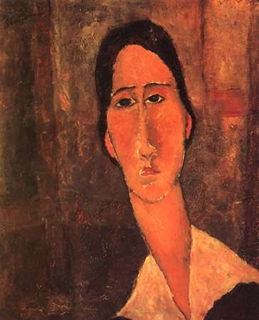 konfigurieren des Kunstdrucks in Wunschgröße Jeanne Hebuterne Whitecollar von Modigliani, Amedeo