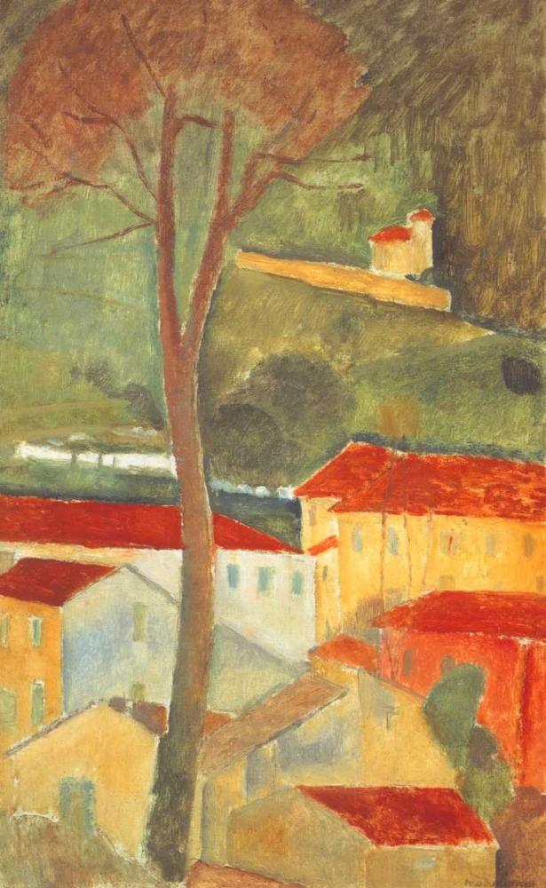 konfigurieren des Kunstdrucks in Wunschgröße Landscape At Cagnes von Modigliani, Amedeo