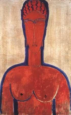 konfigurieren des Kunstdrucks in Wunschgröße Large Red Bust von Modigliani, Amedeo