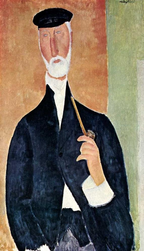 konfigurieren des Kunstdrucks in Wunschgröße Man With Pipe von Modigliani, Amedeo