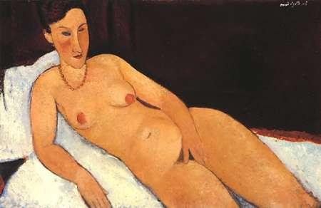 konfigurieren des Kunstdrucks in Wunschgröße Nude With Coral Necklace von Modigliani, Amedeo