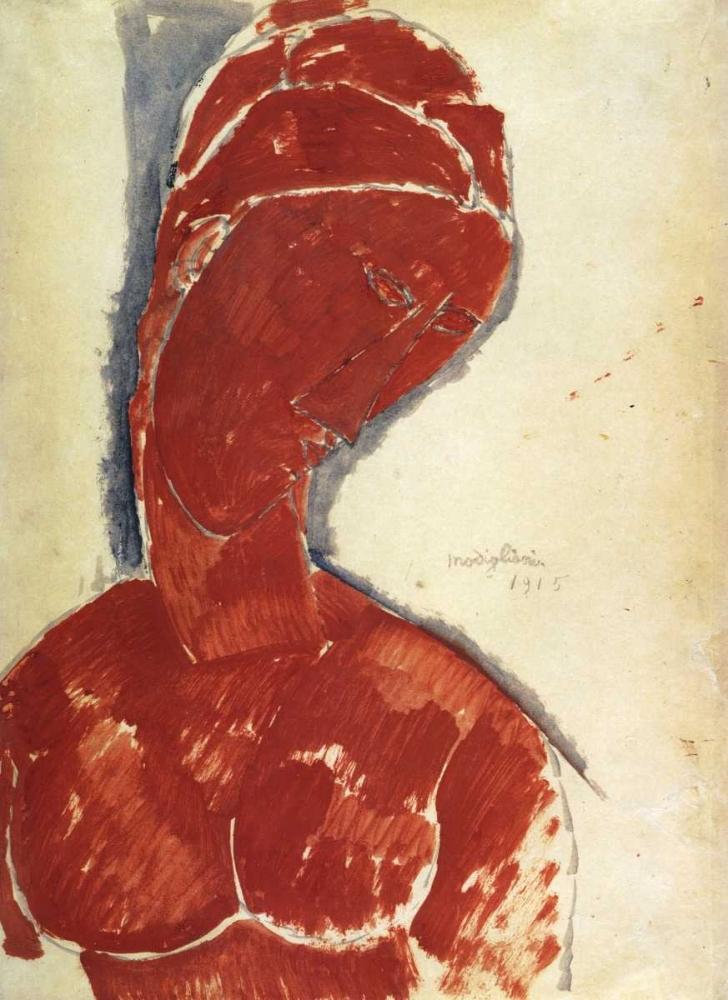 konfigurieren des Kunstdrucks in Wunschgröße Portrait In Red von Modigliani, Amedeo