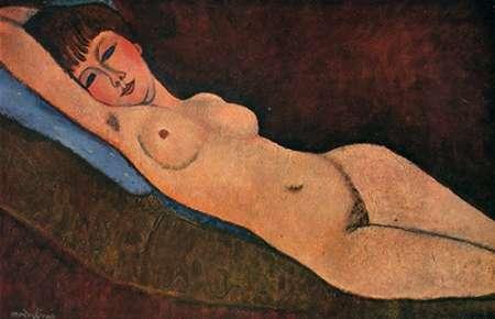 Reclining Nude Blue Cushion von Modigliani, Amedeo <br> max. 81 x 51cm <br> Preis: ab 10€