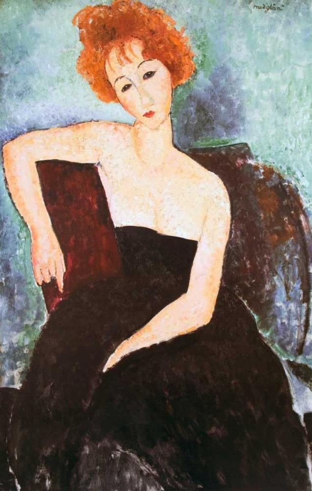 konfigurieren des Kunstdrucks in Wunschgröße Red Headed Woman von Modigliani, Amedeo