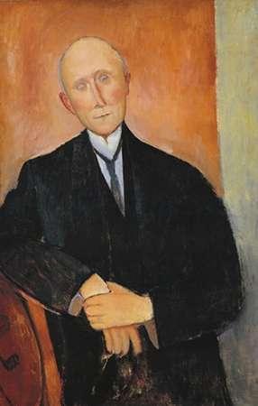 konfigurieren des Kunstdrucks in Wunschgröße Seated Man With Orange Background von Modigliani, Amedeo