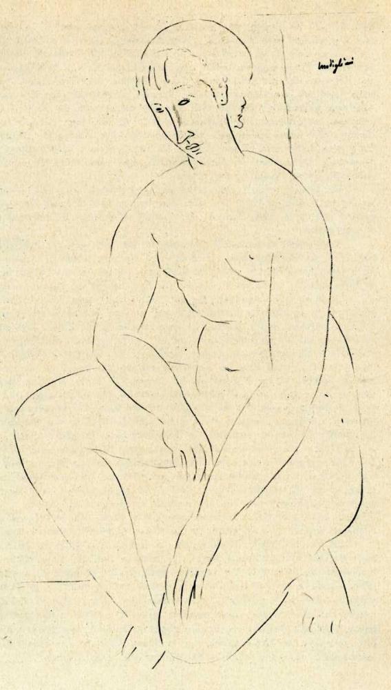 konfigurieren des Kunstdrucks in Wunschgröße Squatting Nude 2 von Modigliani, Amedeo