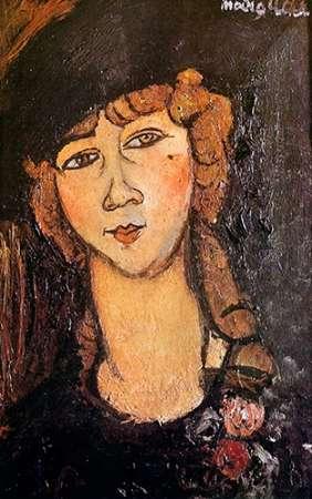 konfigurieren des Kunstdrucks in Wunschgröße Woman In Hat Lolotte von Modigliani, Amedeo