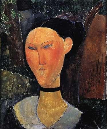 konfigurieren des Kunstdrucks in Wunschgröße Woman With A Velvet Ribbon von Modigliani, Amedeo