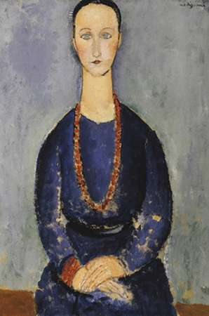 konfigurieren des Kunstdrucks in Wunschgröße Woman With Red Necklace von Modigliani, Amedeo