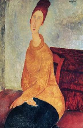 konfigurieren des Kunstdrucks in Wunschgröße Yellow Sweater Mme Hebuterne von Modigliani, Amedeo